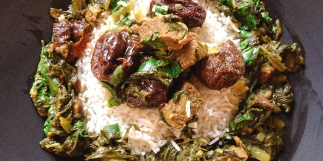 Khoresht-e Aloo Esfanaj (Dried Plum & Spinach Stew)
