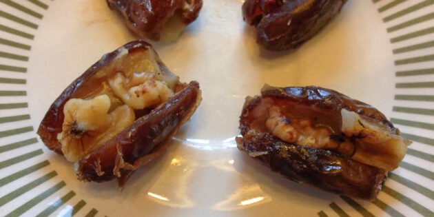 Cheddar Cheese Stuffed Dates with Walnuts