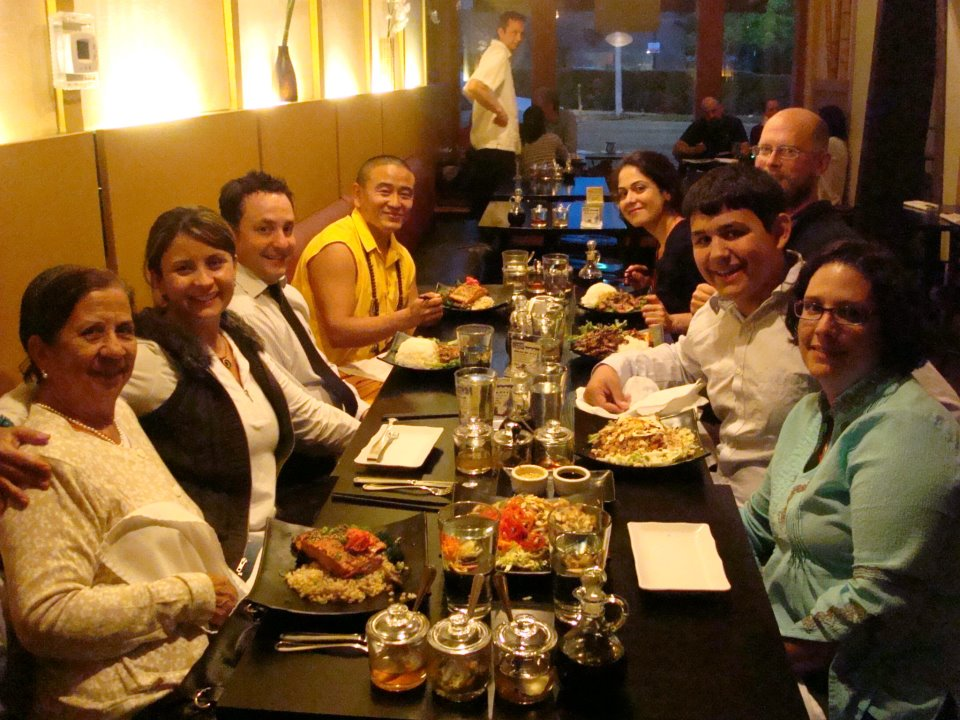 From left to right: Eliana's mom, Eliana, Jorge, Tulku Tsori, Vida, Radd, Gabe, Raquel